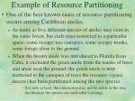 example of resource partitioning