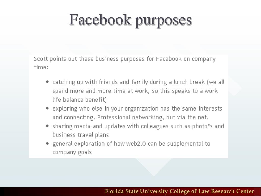 Facebook purposes