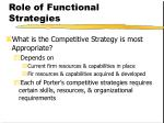 role of functional strategies