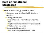 role of functional strategies44