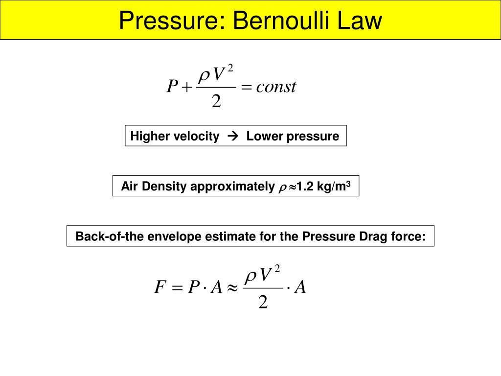 Pressure: Bernoulli Law