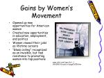 gains by women s movement