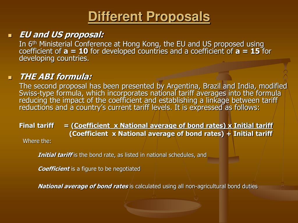 Different Proposals