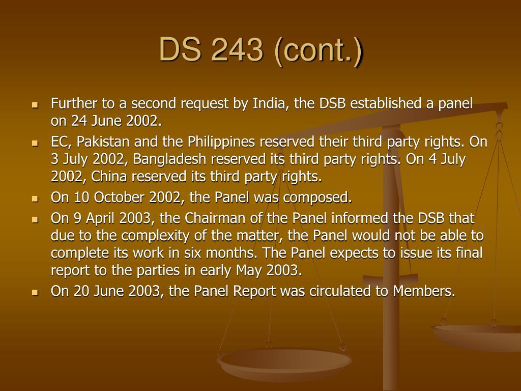DS 243 (cont.)