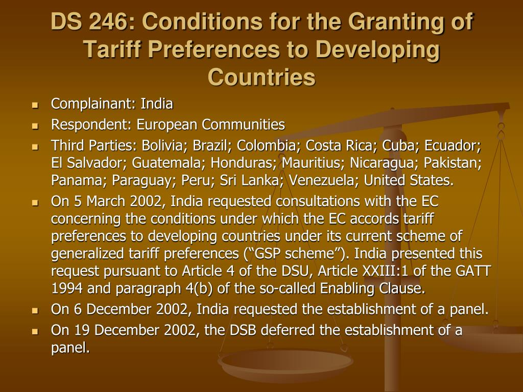 DS 246: Conditions for the Granting of Tariff Preferences to Developing Countries