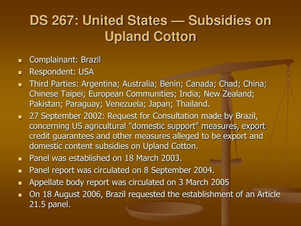 DS 267: United States — Subsidies on Upland Cotton