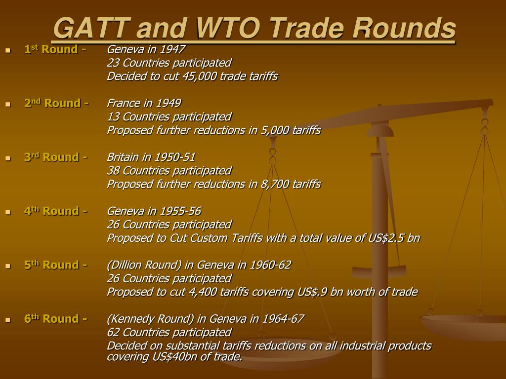 GATT and WTO Trade Rounds