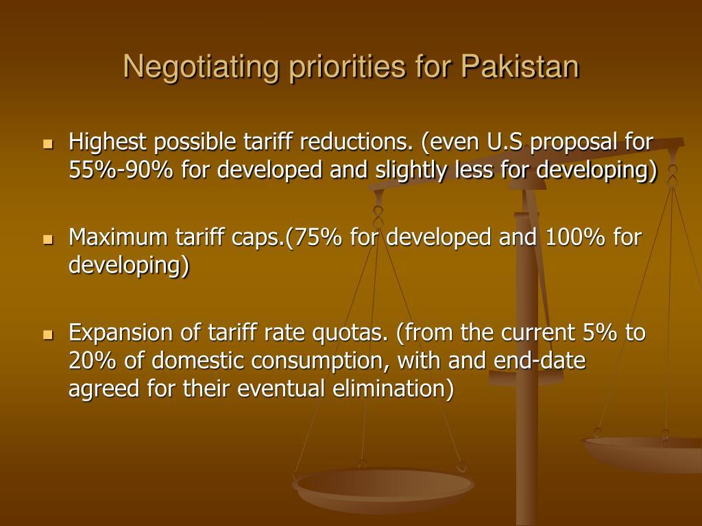 Negotiating priorities for Pakistan