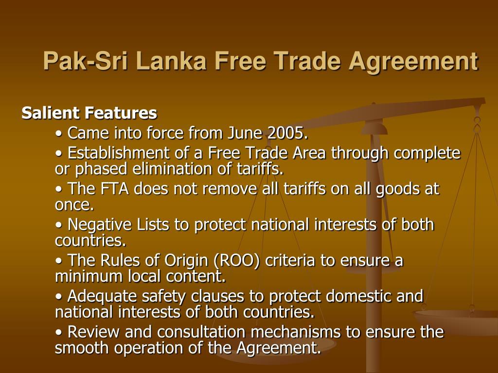 Pak-Sri Lanka Free Trade Agreement
