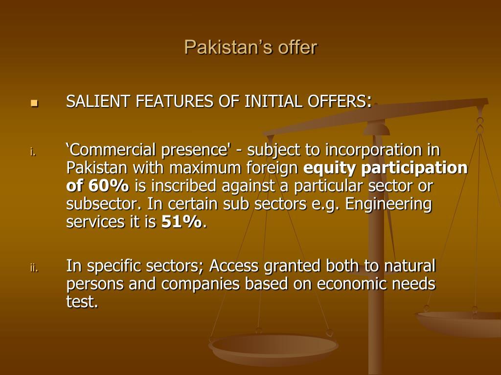 Pakistan's offer