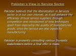 pakistan s view in service sector