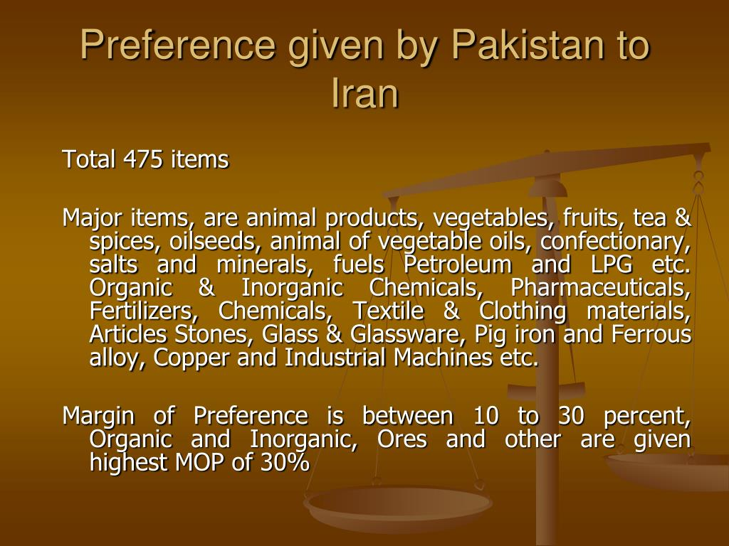 Preference given by Pakistan to Iran
