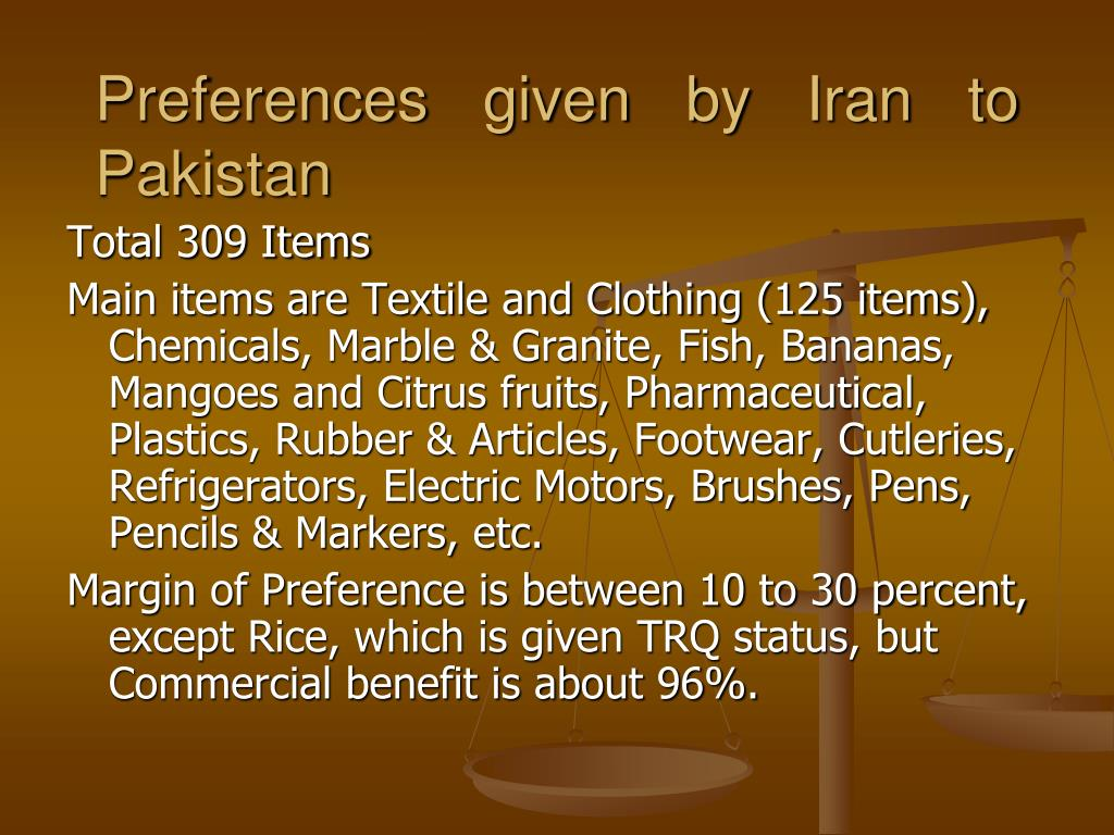 Preferences given by Iran to Pakistan