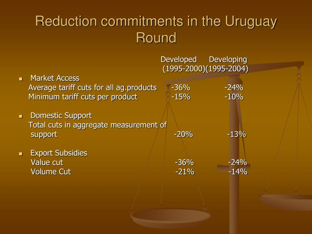 Reduction commitments in the Uruguay Round