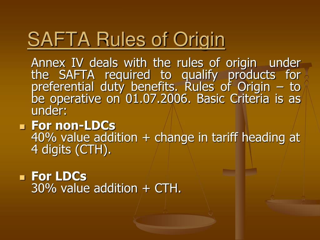 SAFTA Rules of Origin