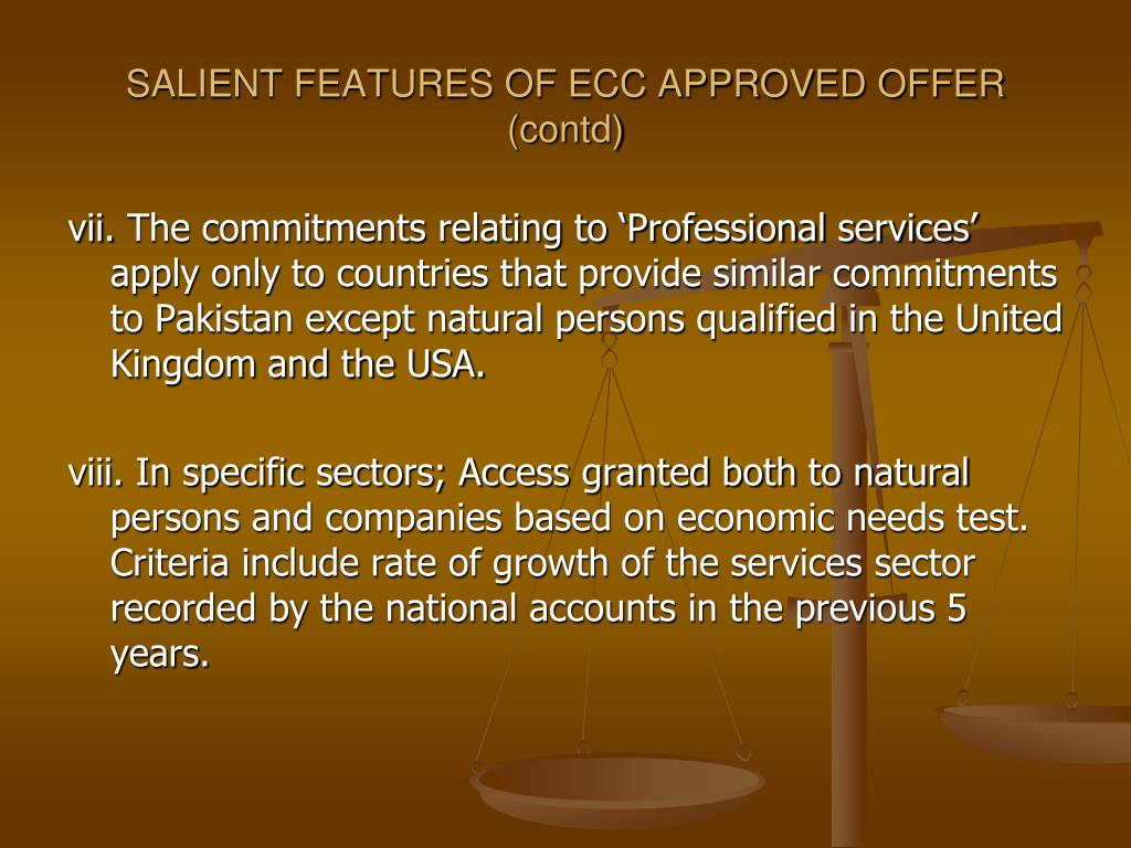 SALIENT FEATURES OF ECC APPROVED OFFER (