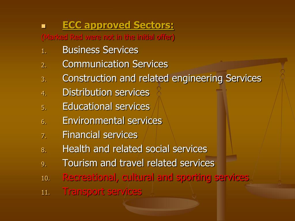 ECC approved Sectors: