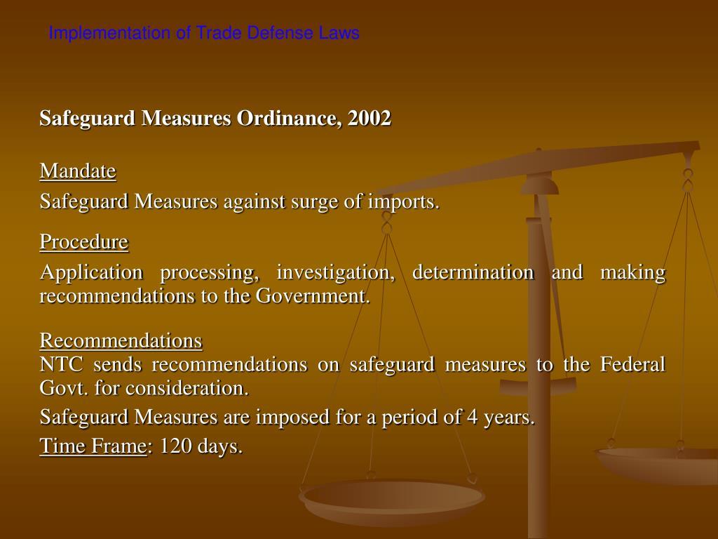 Safeguard Measures Ordinance, 2002