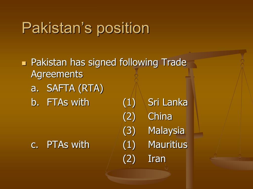 Pakistan's position