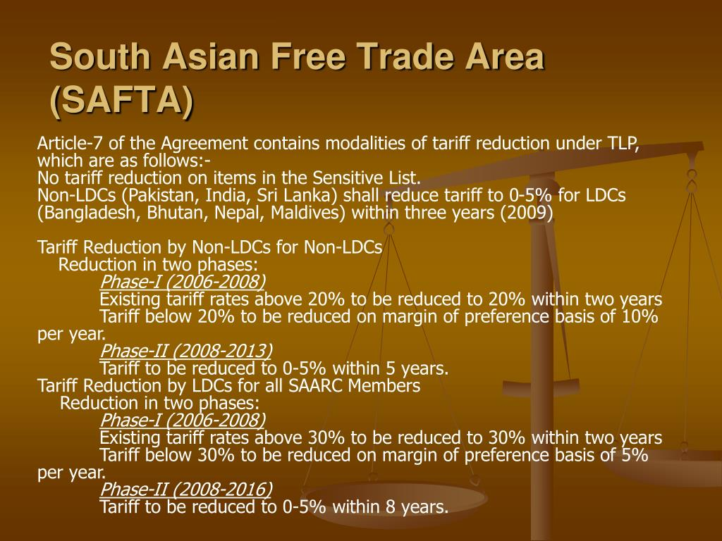 South Asian Free Trade Area (SAFTA)
