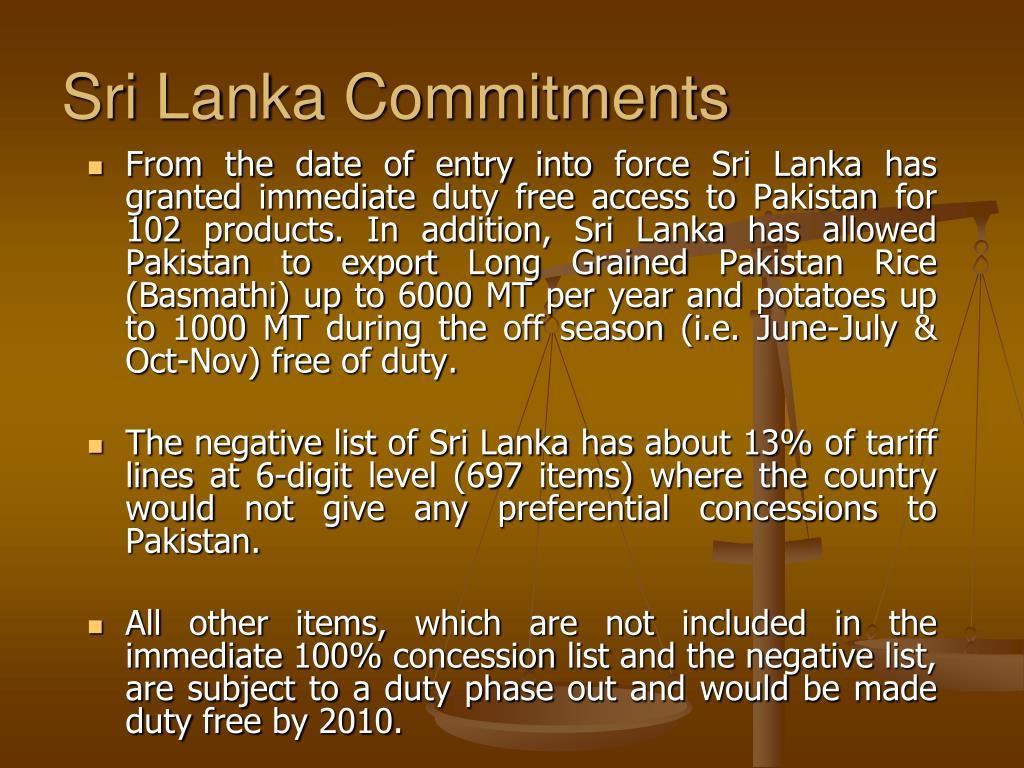Sri Lanka Commitments