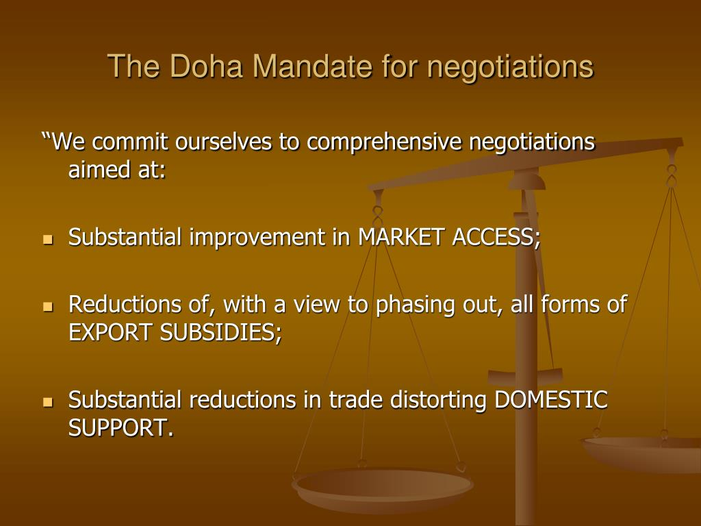 The Doha Mandate for negotiations
