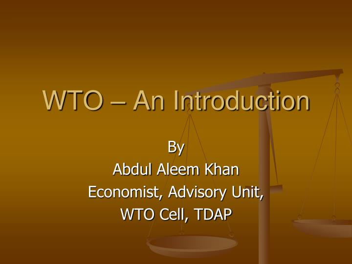 Wto an introduction