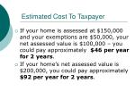 estimated cost to taxpayer