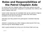 roles and responsibilities of the patrol chaplain aide