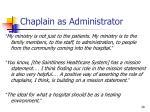 chaplain as administrator