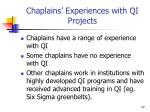 chaplains experiences with qi projects