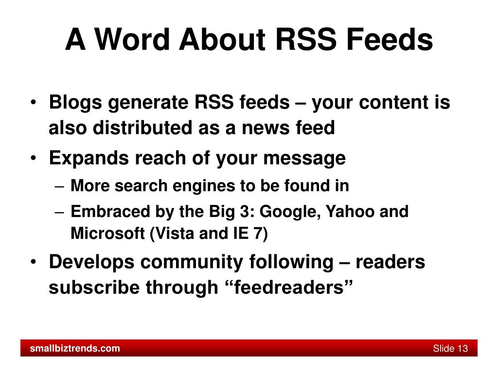 A Word About RSS Feeds