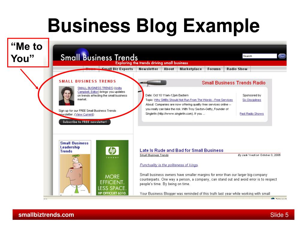 Business Blog Example