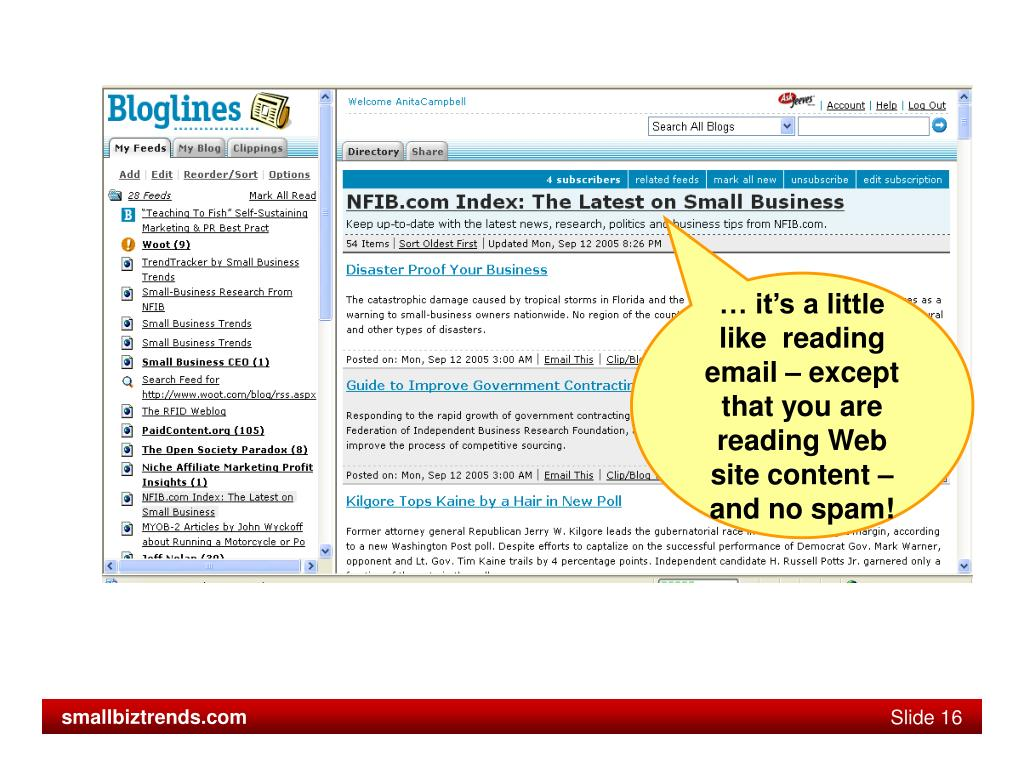… it's a little like  reading email – except that you are reading Web site content – and no spam!