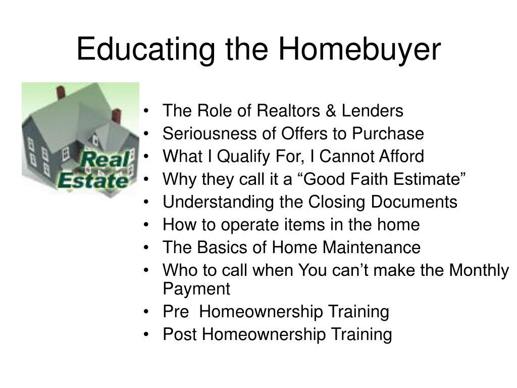 The Role of Realtors & Lenders