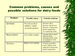 common problems causes and possible solutions for dairy foods