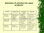 selection of starches for meat products