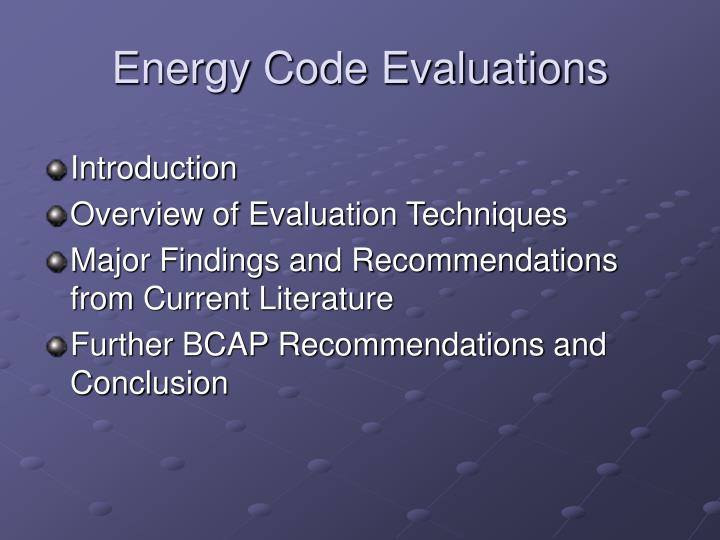 Energy code evaluations