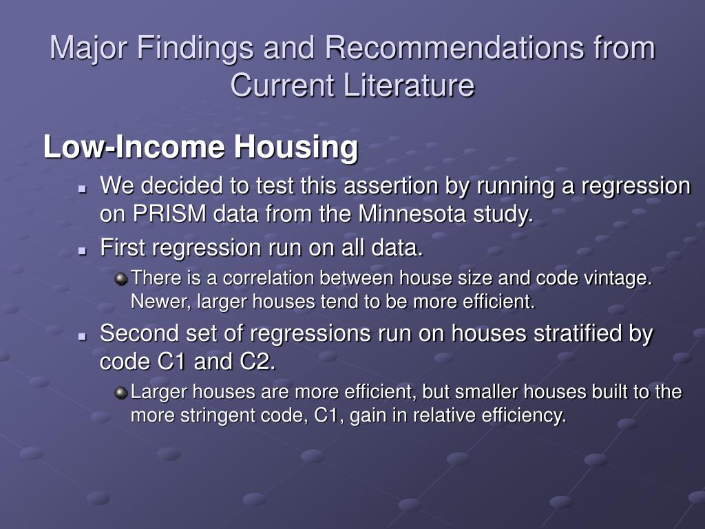Major Findings and Recommendations from Current Literature
