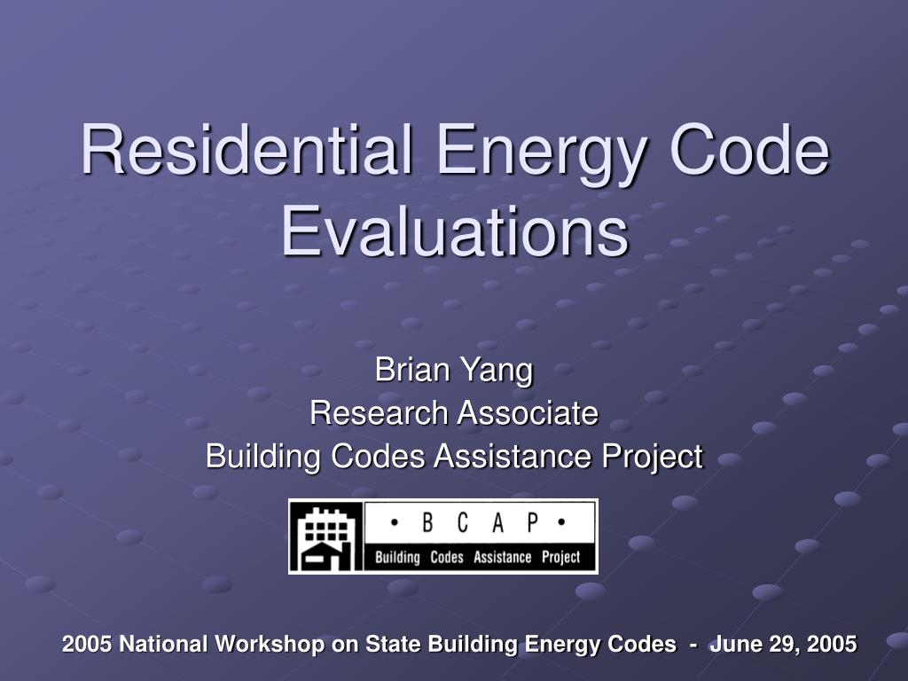 Residential Energy Code Evaluations