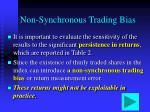 non synchronous trading bias