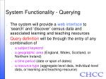 system functionality querying