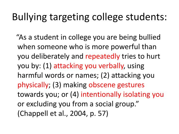 Bullying targeting college students