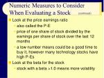numeric measures to consider when evaluating a stock20