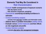 elements that may be considered in risk characterization