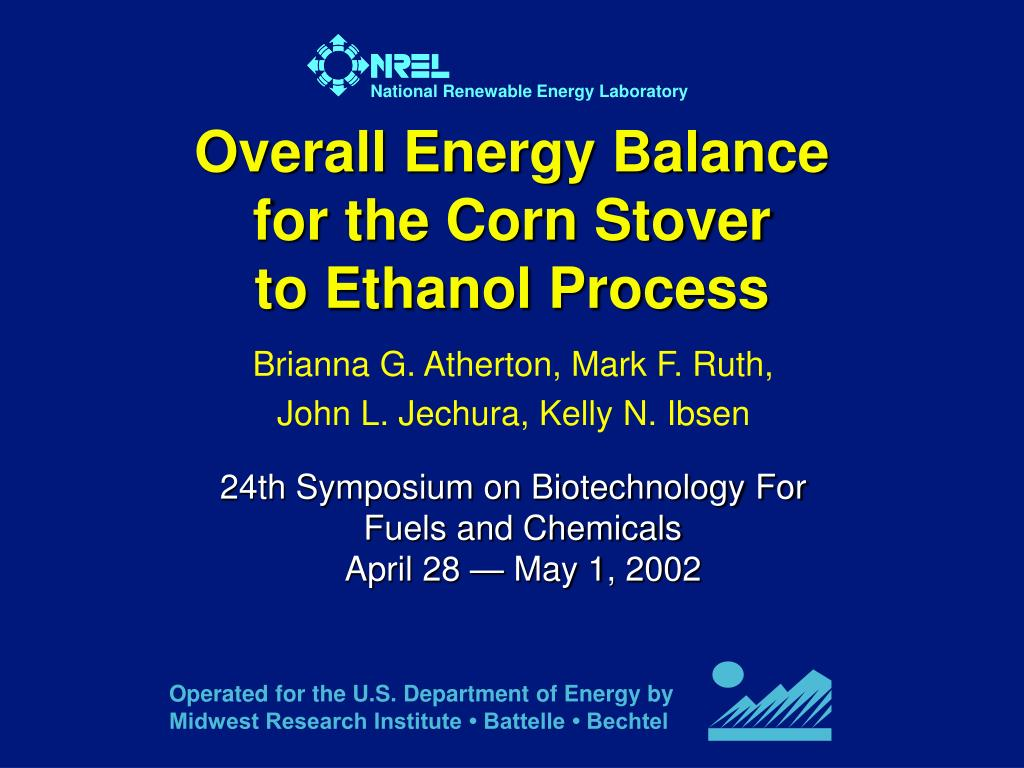 overall energy balance for the corn stover to ethanol process l.