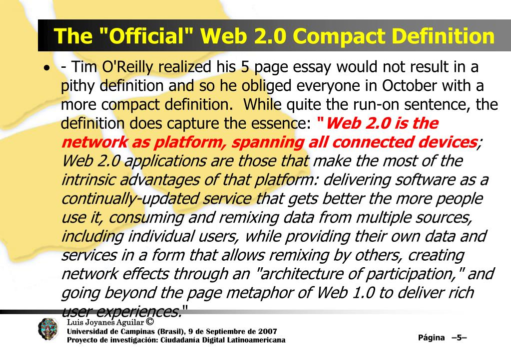 "The ""Official"" Web 2.0 Compact Definition"