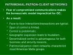 patrimonial patron client networks