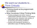 we want our students to think critically