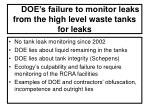 doe s failure to monitor leaks from the high level waste tanks for leaks